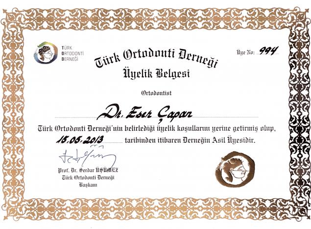 Türk Ortodonti Derneği üyelik belgesi